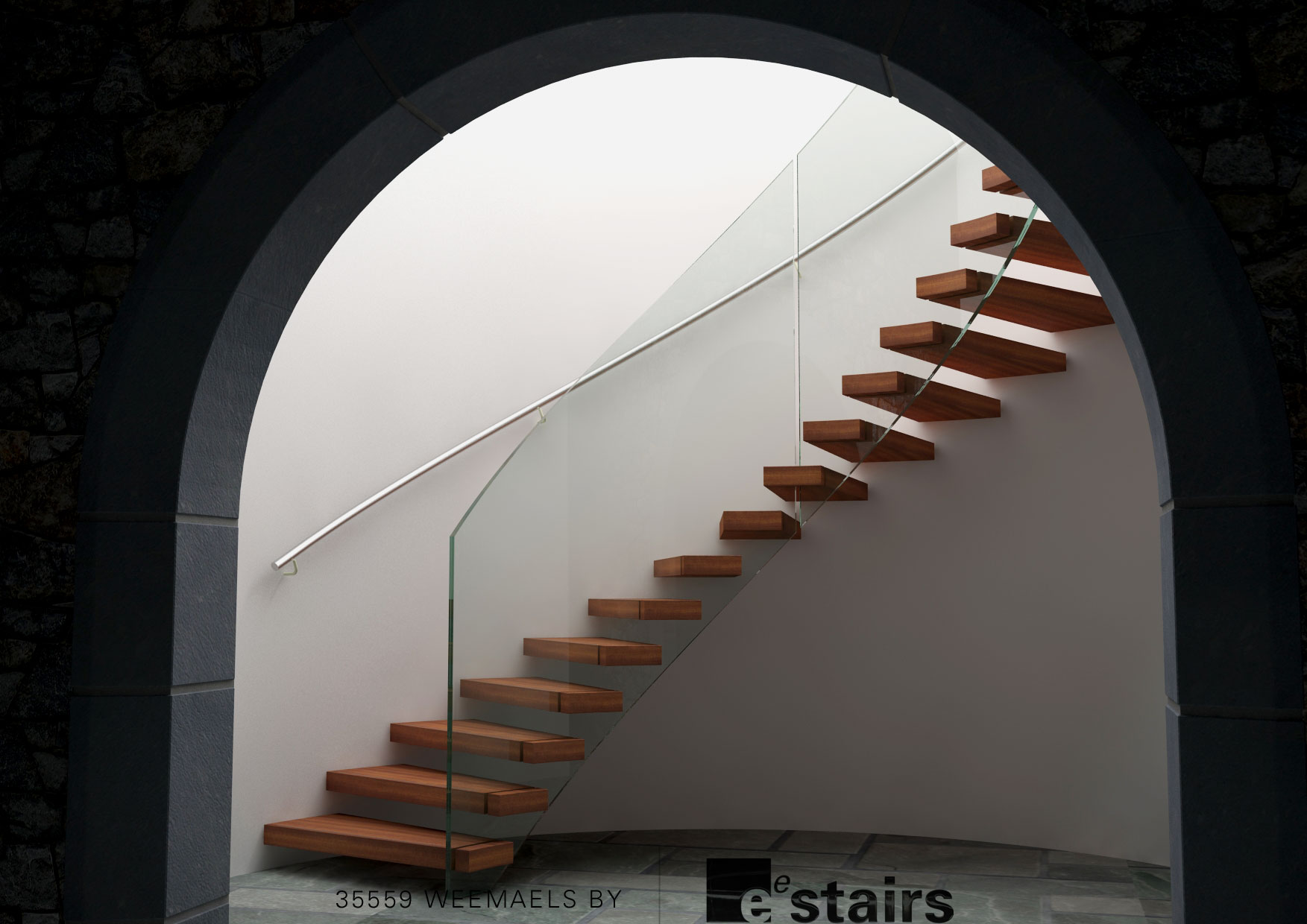 Floating staircase in archway