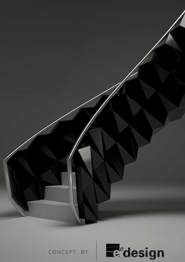 Formed random soffit and balustrade
