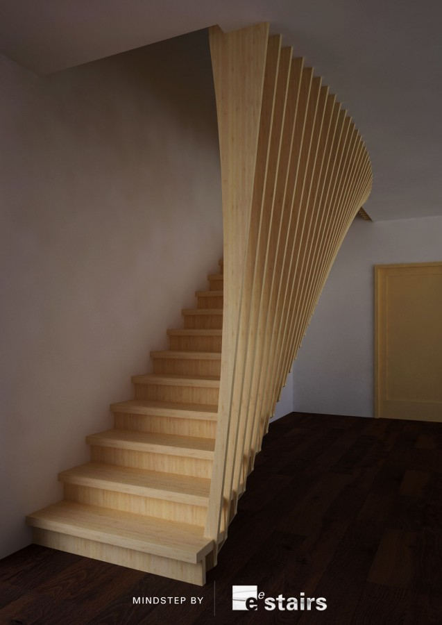 Mindstep with both flaring tread supports and balustrade