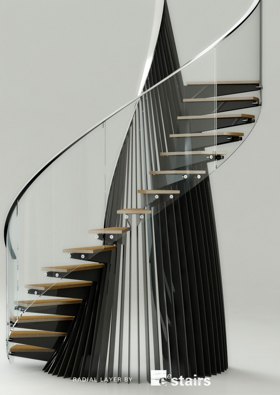 Radial steel, glass balustrade and timber