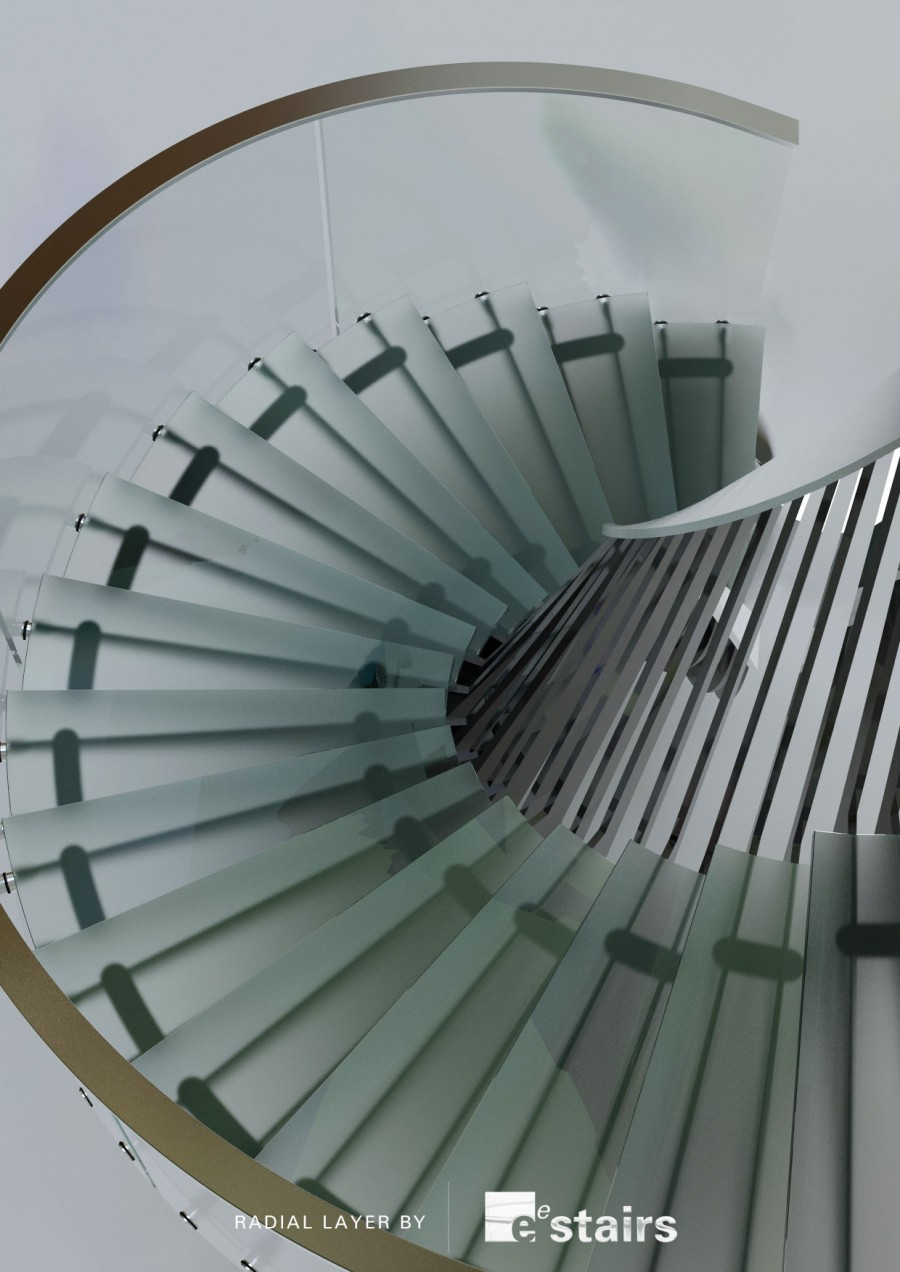 Radial steel, glass balustrade and treads